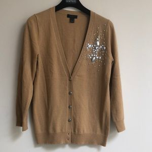 J.Crew Collection Camel Colored Jeweled Cardigan